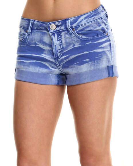 Fashion Lab - Women Blue Roll Cuff Monkey Wash Short