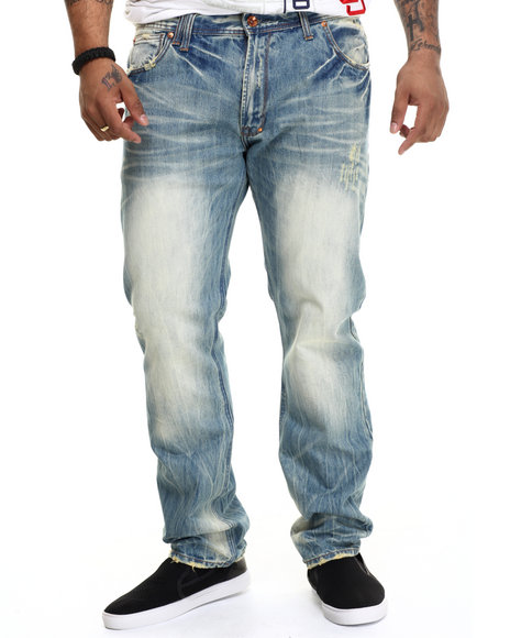 AKOO - Men Medium Wash Big Oak Denim Jeans