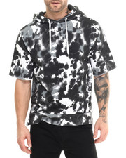 Men - Side quilting tie dye s/s pullover hoodie