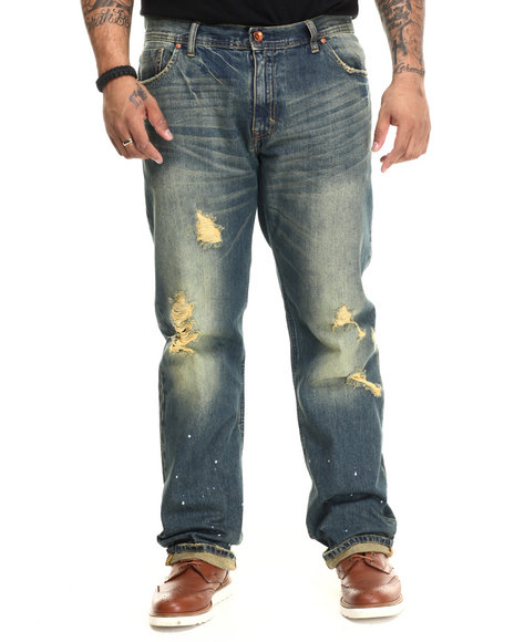 AKOO - Men Dark Wash Lumberjack Straight Fit Jeans