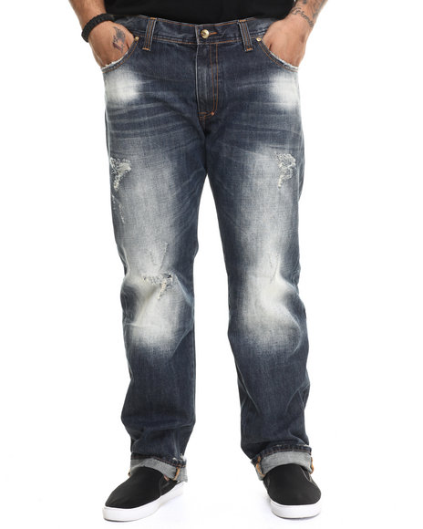 AKOO - Men Dark Wash Gunner Straight Fit Jeans