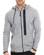Hoodies - Dark Heather Melange Premium Tech Fleece full zip Hoodie