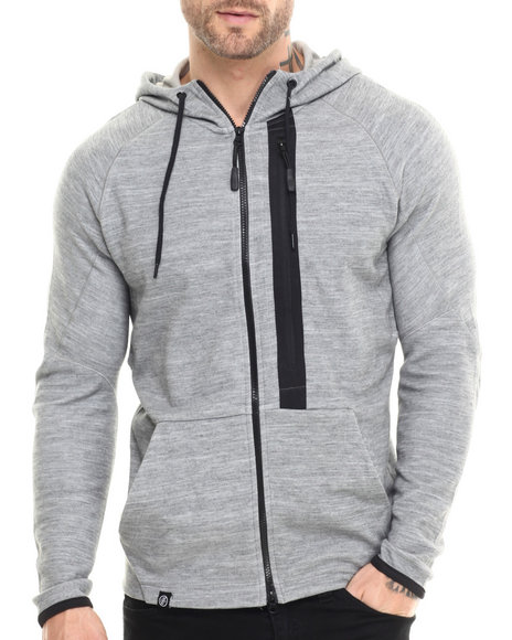 Ur-ID 215529 Buyers Picks - Men Grey Dark Heather Melange Premium Tech Fleece Full Zip Hoodie