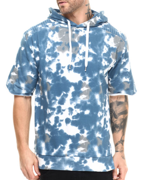 Ur-ID 215531 Buyers Picks - Men Blue Shoulder Quilting Tie Dye S/S Pullover Hoodie