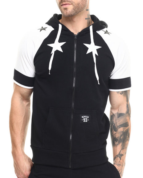 Ur-ID 215528 Buyers Picks - Men Black Star Color Block S/S Zip Hoodie