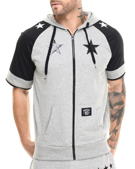 Ur-ID 215530 Buyers Picks - Men Grey Star Color Block S/S Zip Hoodie