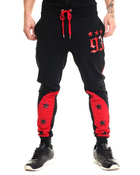 Ur-ID 215533 Buyers Picks - Men Red Star Color Block Jogger Pants