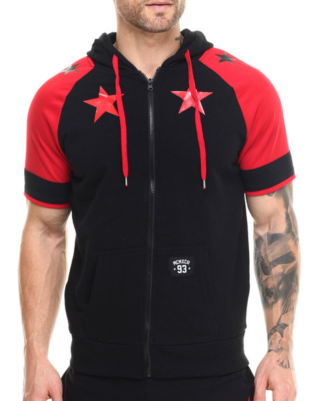 Ur-ID 215537 Buyers Picks - Men Red Star Color Block S/S Zip Hoody