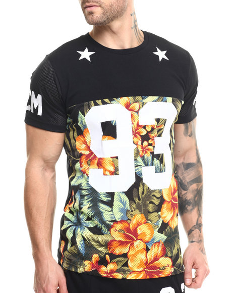 Buyers Picks - Men Black Floral Perforated Mesh A/A Tee (Side Zip Detail)