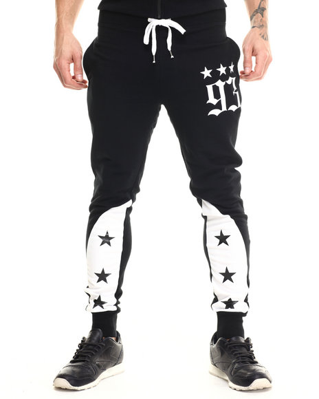 Ur-ID 215523 Buyers Picks - Men Black Star Color Block Jogger Pants