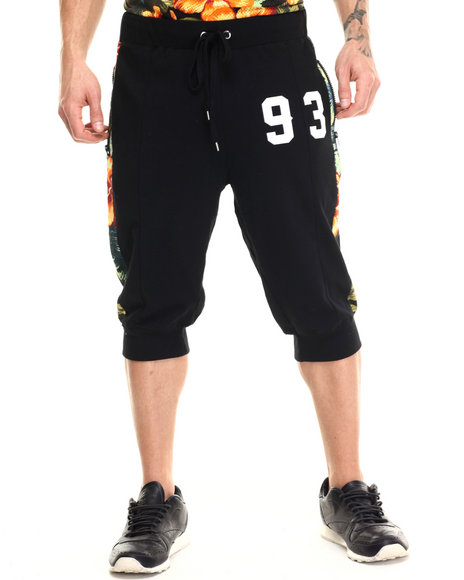 Buyers Picks - Men Black Floral Perforated Mesh Jogger Shorts