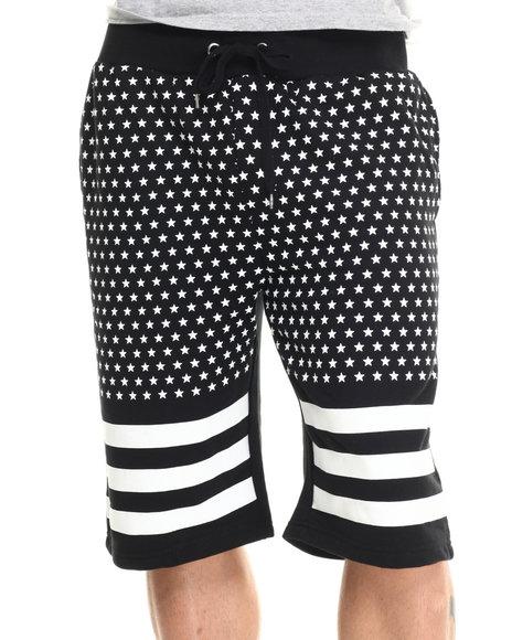 Buyers Picks - Men Black 3D Rubber Star Print Drawstring Shorts