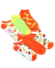 Accessories - Fruity Floral Print 6Pk No Show Socks