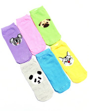 Accessories - Animals Print 6Pk No Show Socks