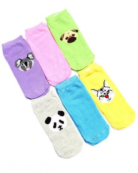 Drj Sock Shop Women Animals Print 6Pk No Show Socks Multi 9-11 - $4.99