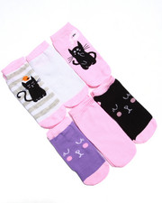 Accessories - Kitty Cat Print 6Pk No Show Socks