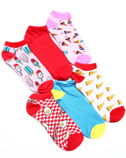 Accessories - Foody Print 6Pk No Show Socks