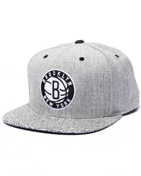 Ur-ID 223091 Mitchell & Ness - Men Grey Brooklyn Nets Heathered & Pebbled Edition Custom Snapback Hat (Drjays.Com Exclusive)