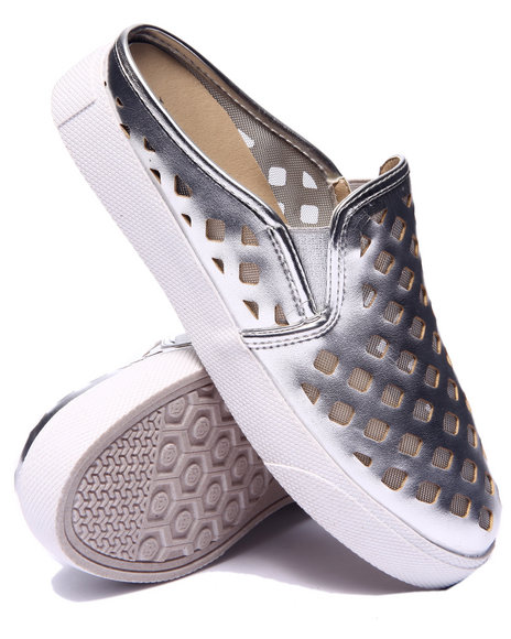 Fashion Lab - Women Silver Pavillion Perforated Mesh Mule Sneaker