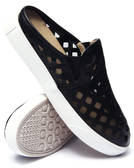 Ur-ID 215546 Fashion Lab - Women Black Pavillion Perforated Mesh Mule Sneaker