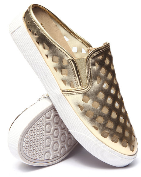 Fashion Lab - Women Gold Pavillion Perforated Mesh Mule Sneaker - $12.99