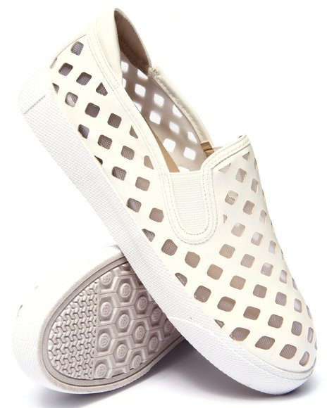 Fashion Lab - Women White Pierre Perforated Mesh Slip On Sneaker