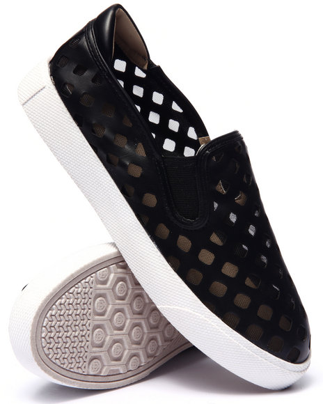 Ur-ID 215549 Fashion Lab - Women Black Pierre Perforated Mesh Slip On Sneaker