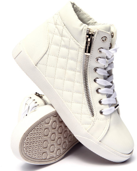 Fashion Lab - Women White Perry Quilted Side Zip High Top Sneaker - $59.00