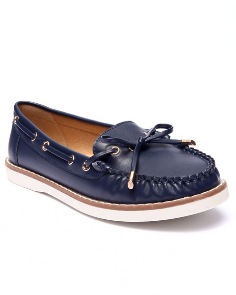 Fashion Lab - Women Navy Mate Faux Leather Boat Shoe