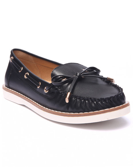 Fashion Lab - Women Black Mate Faux Leather Boat Shoe