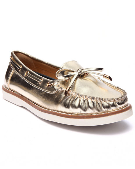 Fashion Lab - Women Gold Mate Faux Leather Boat Shoe