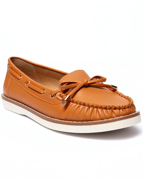 Fashion Lab - Women Tan Mate Faux Leather Boat Shoe
