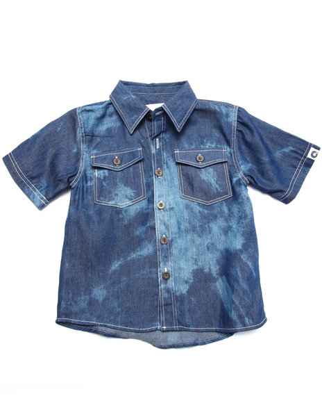 Akademiks - Boys Medium Wash Tie Dye Print Chambray Shirt (4-7)