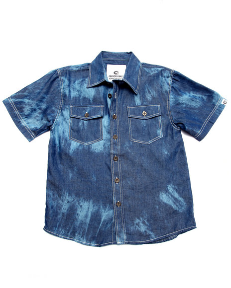 Akademiks - Boys Medium Wash Tie Dye Print Chambray Shirt (8-20) - $12.99