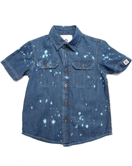 Akademiks - Boys Medium Wash Splatter Print Chambray Shirt (4-7)