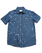 Button-downs - SPLATTER PRINT CHAMBRAY SHIRT (8-20)