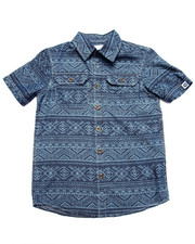 Button-downs - TRIBAL PRINT CHAMBRAY SHIRT (8-20)