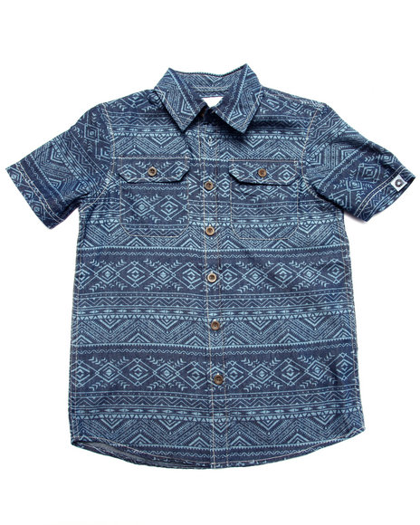 Akademiks - Boys Medium Wash Tribal Print Chambray Shirt (8-20) - $9.99