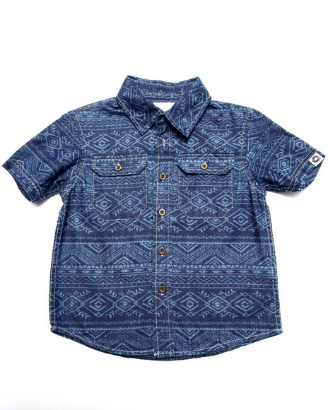Akademiks - Boys Medium Wash Tribal Print Chambray Shirt (4-7)