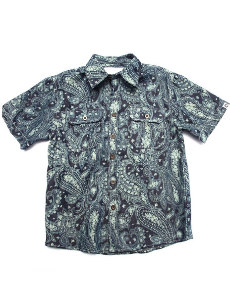 Akademiks - Boys Medium Wash Bandana Print Chambray Shirt (8-20)