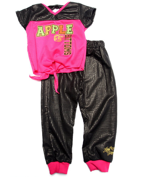 Apple Bottoms - Girls Pink 2 Pc Jogger Set (2T-4T) - $11.99