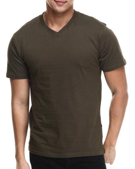 Ur-ID 215566 Basic Essentials - Men Olive Premium V - Neck S/S Tee
