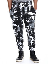Men - Side quilting tie dye jogger pants