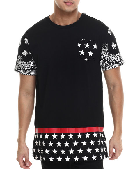 Ur-ID 215576 Buyers Picks - Men Black Mesh Cut & Sewn Special Print E-Longated S/S Tee