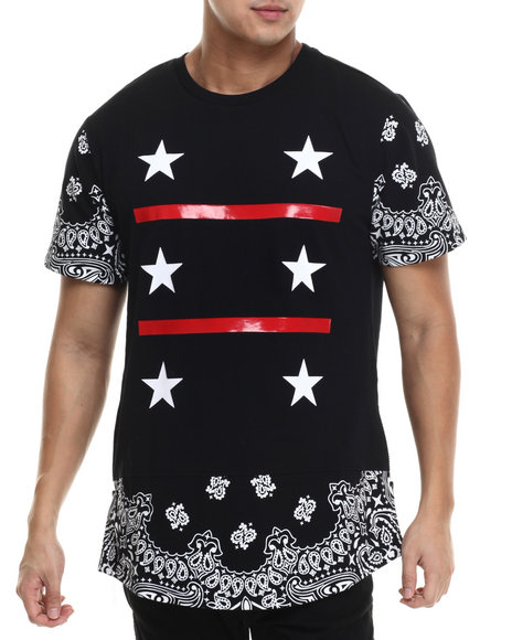 Ur-ID 215578 Buyers Picks - Men Black Cut & Sewn Bandana N Stars Print E-Longated S/S Tee
