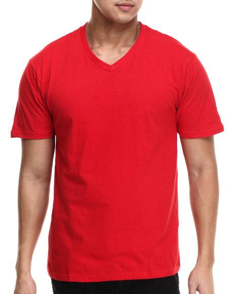 Ur-ID 215579 Basic Essentials - Men Red Premium V - Neck S/S Tee