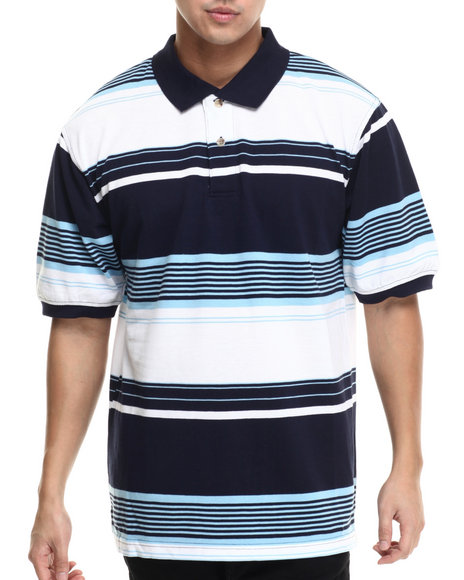 Ur-ID 215581 Basic Essentials - Men Navy Striped Pique S/S Polo