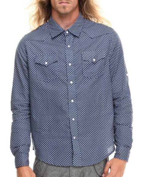 Buyers Picks - Men Black Mini Dot L/S Button Down Shirt
