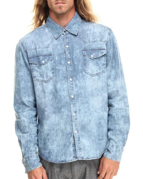 Ur-ID 215621 Basic Essentials - Men Vintage Wash Acid Wash Double Pocket Button Down Shirt