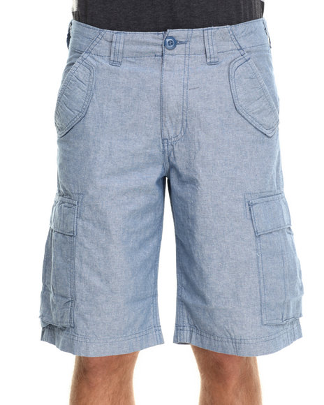 Buyers Picks - Men Blue Chambray Cargo Shorts